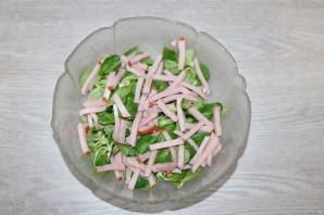 Зелёный салат с ветчиной - фото шаг 6