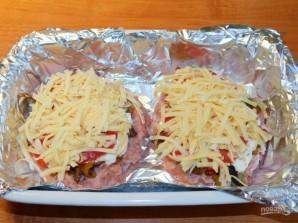 Мясные стожки с грибами в духовке - фото шаг 5