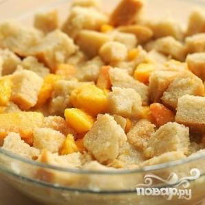 Хлебный пудинг с персиками и орехами - фото шаг 3