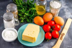 Блинный торт с помидорами и сыром