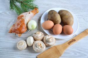 Салат с копченым мясом и грибами - фото шаг 1