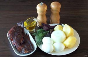 Салат из морского окуня горячего копчения - фото шаг 1