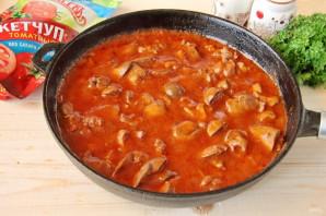 Куриная печень в томатном соусе с кетчупом - фото шаг 7