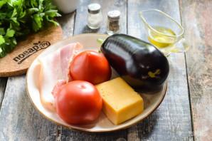 Баклажаны запеченные с сыром, помидорами и беконом