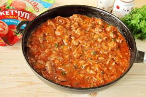 Куриная печень в томатном соусе с кетчупом - фото шаг 9