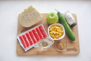 Крабовый салат без яиц - фото шаг 1