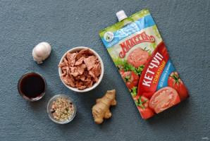 Соевое мясо по-монгольски с кетчупом - фото шаг 1