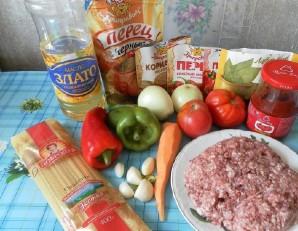 Паста с фаршем и помидорами - фото шаг 1