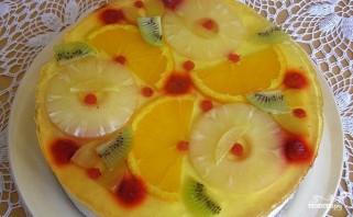 Творожный торт с желе и фруктами - фото шаг 12