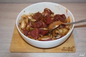 Мясо с грибами и сыром в духовке - фото шаг 4