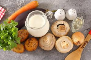 Грибной суп с баклажанами на молоке - фото шаг 1
