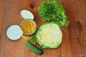 Салат с капустой, огурцами и кукурузой - фото шаг 1