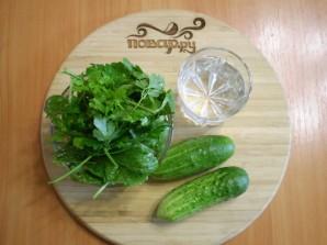 Зеленый коктейль с огурцом - фото шаг 1