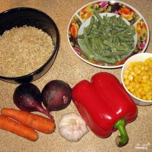 Коричневый рис с овощами - фото шаг 1