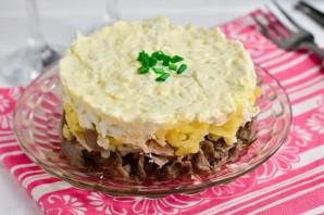 Слоеный салат с мясом и грибами - фото шаг 7