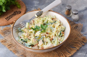 Салат с копченой курицей и огурцом - фото шаг 7