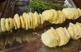 Картошка с салом на костре - фото шаг 2
