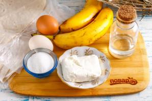Конвертики из лаваша с творогом и бананом - фото шаг 1