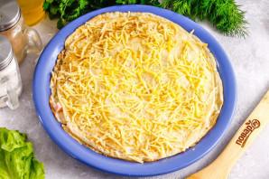 Блинный торт с ветчиной и сыром