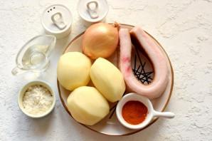 Картофельная бабка с салом в духовке - фото шаг 1