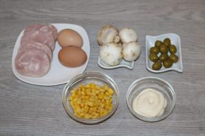 Слоёный салат с жаренными шампиньонами - фото шаг 1