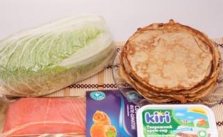 Блины с семгой и творожным сыром - фото шаг 1