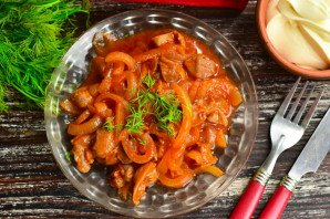 Куриные желудки в томатном соусе - фото шаг 10