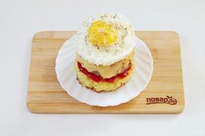 "Бургер на завтрак ""Башня на рассвете"" - фото шаг 11"
