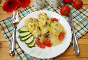 Куриные голени с картофелем и луком в духовке - фото шаг 9