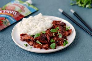 Соевое мясо по-монгольски с кетчупом - фото шаг 8