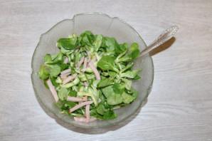 Зелёный салат с ветчиной - фото шаг 9