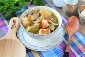 Грибной суп с сухариками - фото шаг 10