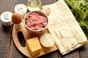 Конвертики из лаваша с мясом и сыром - фото шаг 1