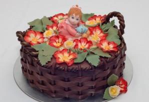 "Торт ""Корзина с цветами"" - фото шаг 7"