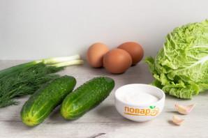 Зеленый салат с пекинской капустой - фото шаг 1