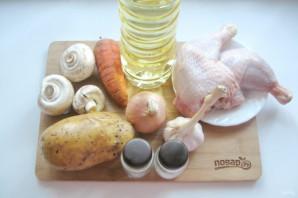 Курица с грибами в казане - фото шаг 1