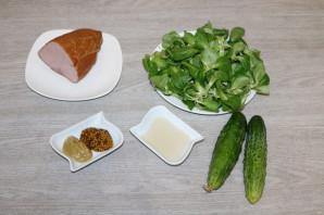 Зелёный салат с ветчиной - фото шаг 1