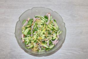 Зелёный салат с ветчиной - фото шаг 8