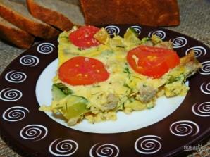 Фриттата с мясом, кабачками и помидорами - фото шаг 5