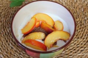 Полезный коктейль из йогурта с персиком и семенами льна - фото шаг 4