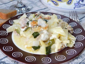 Мясо в сливках с кабачками и грибами в духовке - фото шаг 6