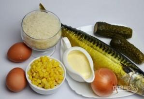 Салат с кукурузой, рисом и копченой скумбрией - фото шаг 1