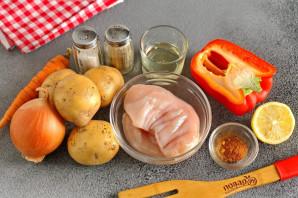 Куриная грудка на овощной подложке - фото шаг 1