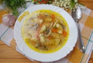 Грибной суп с клецками - фото шаг 14