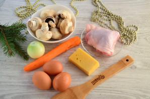 Слоеный салат «Мышка» с грибами и сыром - фото шаг 1