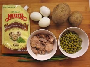 Простой салатик с печенью трески - фото шаг 1