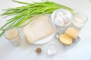 Пирог с рисом, зеленым луком и яйцом - фото шаг 1