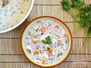 Сливочный суп с курицей и рисом - фото шаг 14