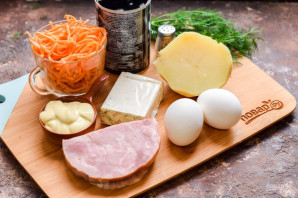 Салат с ветчиной и корейской морковью на год Быка - фото шаг 1