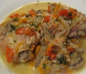 Курица с овощами в казане - фото шаг 4